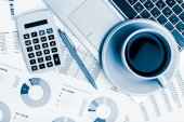 Calculator on the financial documents — Stock Photo