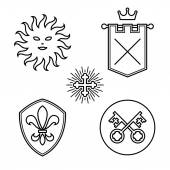 Vintage medieval symbols linear style design elements — Wektor stockowy