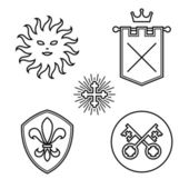 Vintage medieval symbols linear style design elements — Stock vektor