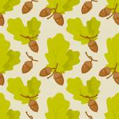 Leaves and acorns pattern — Stock Vector