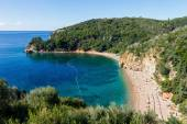 Top view of the Mogren beach, Budva, Montenegro — Stock Photo
