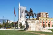 Skanderbeg Monument - the national hero of Albania, Tirana — Stock Photo