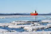 Sea ice is destroyed in the spring, White sea, Russia — Stock Photo