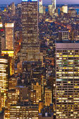 Cityscape view of Manhattan with Empire State Building at night — Stock Photo