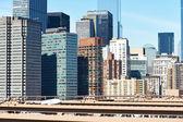 Lower Manhattan skyline view from Brooklyn Bridge — Stock Photo