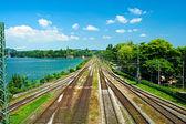 Railway tracks in a rural scene at Lindau — Stock Photo