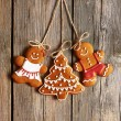 Christmas homemade gingerbread couple cookies — Stock Photo #54532211