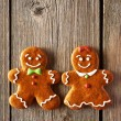 Christmas homemade gingerbread couple cookies — Stock Photo #54532233