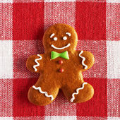 Christmas homemade gingerbread man cookie — Stock Photo