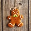 Christmas homemade gingerbread man cookie — Stock Photo #55042357