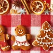 Christmas gingerbread couple and tree cookies — Stock Photo #55361009