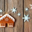 Christmas homemade gingerbread house cookie — Stock Photo #55361121