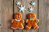 Christmas homemade gingerbread couple cookies — Stock Photo