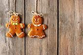 Christmas homemade gingerbread couple cookies — Stock Photo