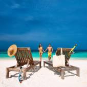 Couple on a beach at Maldives — Stock Photo