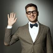 Nerd says Hello — Stock Photo