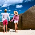 Couple on a beach at Seychelles — Stock Photo #68041131