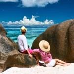 Couple on a beach at Seychelles — Stock Photo #68041151