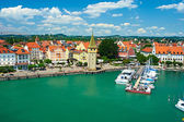 Boats at port of Lindau harbour — Stock Photo