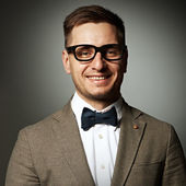 Confident nerd in eyeglasses — Stock Photo
