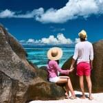 Couple on beach at Seychelles — Stock Photo #69406923