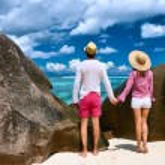 Couple on beach at Seychelles — Stock Photo #69406967