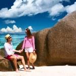 Couple on beach at Seychelles — Stock Photo #69407013