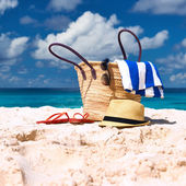 Beautiful beach with bag — Stock Photo