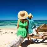 Couple on a beach at Seychelles — Stock Photo #72574709