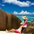 Couple on a beach at Seychelles — Stock Photo #72993051