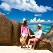 Couple on a beach at Seychelles — Stock Photo #72993371