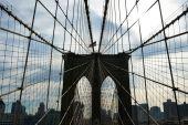Brooklyn bridge pillar, New York — Stock Photo