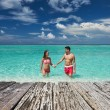 Couple on tropical beach — Stock Photo #74110555