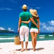 Couple on a beach at Seychelles — Stock Photo #74110867