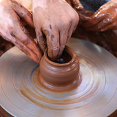 Hands working with clay — Stock Photo