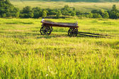Rural landscape with wooden cart — Stock Photo