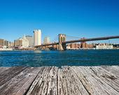 Lower Manhattan skyline view from Brooklyn — Stock Photo