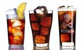 Vidro com coleção de coca-cola — Fotografia Stock