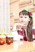 Girl in Ukrainian embroidery — Fotografia Stock