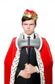 Concept of king businessman with crown — Stock Photo