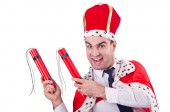 King with dynamite sticks isolated on the white — Stock Photo