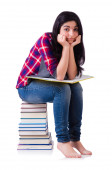 Young student with books isolated on white — Stock Photo