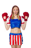 Female boxer isolated on the white background — Foto de Stock