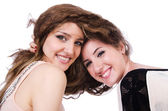 Two female friends isolated on the white — Stock Photo