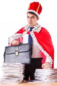 King businessman with lots of paperwork — Stock Photo
