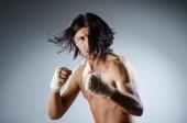 Ripped martial arts expert at training — Stockfoto