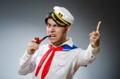 Funny captain sailor wearing hat — Stock fotografie