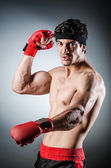 Muscular boxer wiith red gloves — Stock Photo