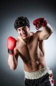 肌肉发达的拳击手热恋红色手套 — 图库照片