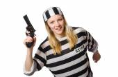 Prison inmate with gun isolated on white — Stock Photo